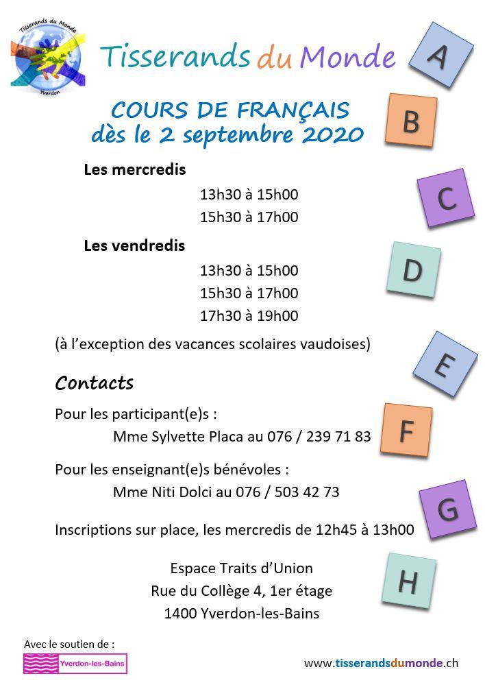 Reprise des cours de français de l'association Tisserands du Monde